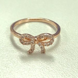 Jewelry - NWOT Dainty Rose Gold Bow Ring with Rhinestones